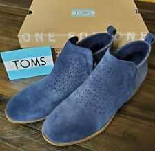 Toms Women's DEIA Boots Blue Suede Booties Size 7.5 M with Box Worn Once