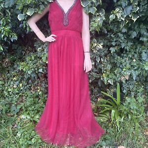 Little Mistress Red Cherry Long Chiffon Mesh Sequin Ball Gown Prom Dress Size 24