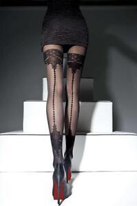 FIORE Collant couture sexy noir imitation bas femme motifs Taille 2 3 4 40 DEN