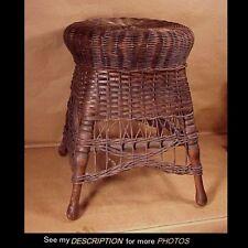Antique Victorian Natural Wicker Stool / Ottaman / Taboret