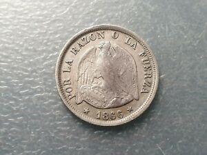 CHILE SANTIAGO 20 CENTAVOS 1866 MBC+