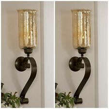 "TWO 30"" AGED BRONZE HAND FORGED METAL GLASS WALL SCONCE FIXTURE CANDLE HOLDERS"