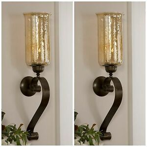 """TWO 30"""" AGED BRONZE HAND FORGED METAL GLASS WALL SCONCE FIXTURE CANDLE HOLDERS"""