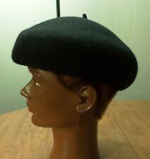 BLACK BERET classic w/ stem vtg military hat