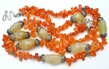 Carnelian Calcite Bead Necklace Sterling Silver Vintage Double Strand Jewelry