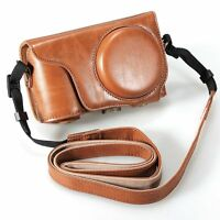 Brown Pu Leather Camera Case Cover Bag + Strap for Samsung Galaxy EK-GC100 A4K5