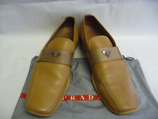 PRADA Mens Loafers 9 Fits10 Beige Tan Leather Strap Metal Logo Square Toe