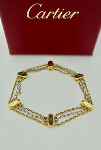 Authentic Vintage Cartier Garnet 18k White & Yellow Gold Chain Bracelet