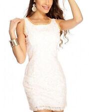 Women dresses casual cocktail mini clubwear White Orange Crochet Overlay sz L
