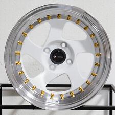 """4-New 15"""" Vors VR2 Wheels 15x8 4x100 20 White Rims"""