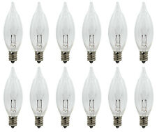12 Pack - Replacement Flame Light Bulbs for Electric Window Candles, 7 Watt 120V