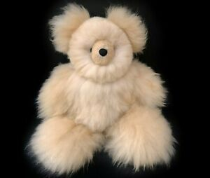Handmade Alpaca Teddy Bear, Stuffed Alpaca Fur Bear, Stuffed Animal Teddy Bear