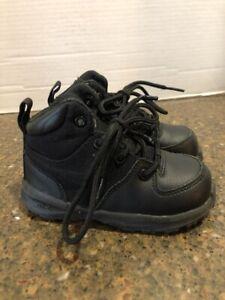 NIKE MANOA 613548-001 BLACK LEATHER BOOTS TODDLER SIZE 7C