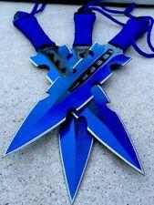 "3Pc 7.5"" Ninja Throwing Knife Tactical Combat Blue Kunai  Set w/Sheath Hunting"