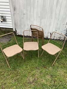 """Set 4 Vtg Cosco """"Stylaire"""" Metal Lightweight Folding Chairs Excellent Condition"""