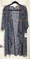 NWT LuLaRoe Shirley Kimono M Purple with Teal Rose Pink & Beige Floral print
