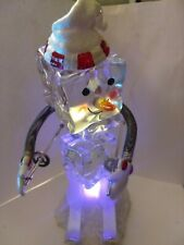 """Department 56 Acrylic Ice Cube Skating Figurine 8"""" Battery Lights Up"""