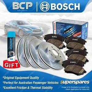 Front + Rear Disc Rotors Bosch Brake Pads for Mitsubishi Lancer CJ CY 2.0L Sedan