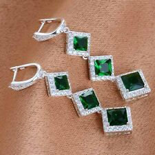 Women Fashion 925 Silver Emerald Crystal Drop Dangle Earring Wedding Jewelry
