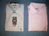 NWT NEW mens pink gray VAN HEUSEN flex collar wrinkle free dress shirt $50