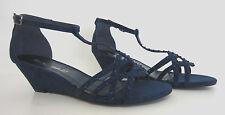 Ladies Anne Michelle Wedge Sandals F10277 Navy UK 5