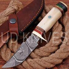 UD HANDMADE FIXED BLADE 1095 DAMASCUS ART HUNTER SKINNER KNIFE CAMEL BONE 10300
