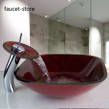 Bathroom Red Vessel Sink Tempered Glass Bowl Chrome Waterfall Mixer Tap Faucet