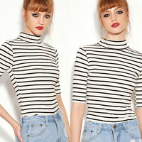 Women's Striped Basic T-shirt Turtle Neck Slim Blouse Casual Short Sleeve Tops