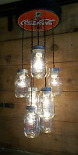 Vintage Style COCA COLA & BALL MASON JAR Ceiling Light Fixture COKE Chandelier