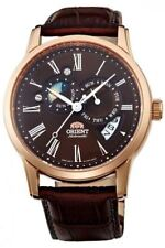 """ORIENT Classic Automatic """"Sun and Moon"""" Rose Gold Dress Sapphire ET0T003T"""