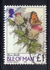 ISLE OF MAN = 1998 £1 Flowers `Spear Thistle`. SG785. Very Fine Used. (a)