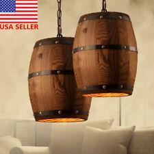 US Wine Wood Barrel Hanging Fixture Pendant Ceiling Lamp ing Bar Cafe Light