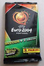 BUSTINA PACKET SOBRE PANINI UEFA EURO 2004 MINI STICKERS + 2 BUBBLE GUM
