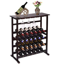 24 Bottle Wine Rack With Glass Hanger Storage Wood Table Shelves Display