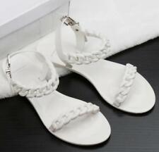 Beach Womens Solid Color Flat Jelly Chain Open Toe Rivet Buckle Sandals Sweet