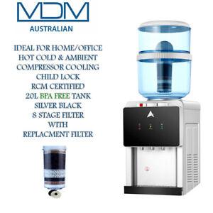 Water Cooler Dispenser Benchtop Hot Cold Filter Purifier Silver Black 20L Bottle