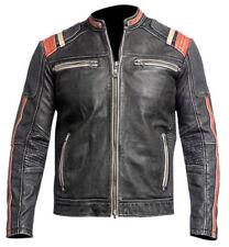 Vintage para Hombre Estilo Motociclista Chaqueta de Piel Auténtica Retro 3 Nuevo