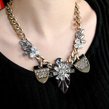 Vintage Style Chunky Crystal Floral Bronze Choker Collar Necklace Pendant