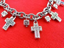 BRIGHTON PURITY CROSS CRYSTAL CHARM SILVER  BRACELET New without Tag