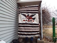 Vintage Mexican Blanket Rug - Woven Wall Hanging - Large Mexican Tapestry - Wool