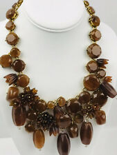 J.Crew Necklace Statement Runway Tortoise Shell Floral Flower Lucite Bead RARE