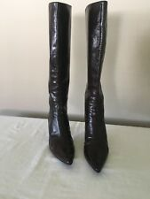 JIMMY CHOO BROWN LEATHER KNEE HIGH BOOTS SZ 38