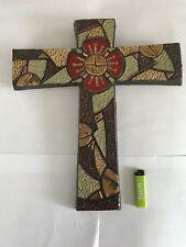 Large Ceramic Mid Century Crucifix Art Pottery Amphora Perignem Tieberghien Lava