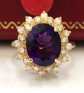 3.90 Carat Natural Purple Amethyst and Diamonds in 14K Solid Yellow Gold Ring