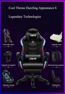 Gaming Chair with Bluetooth Speakers PU Leather Led Lights Recliner  Footrest