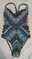 New Women's Black Blue Pink Print Swimwear One Piece Strappy Swimsuit Size XS