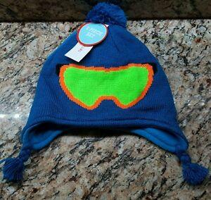 Winter Hat Mitten Set Toddler Boy's Blue Ski Mask WonderKids OSFM- NEW