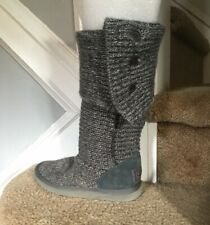 UGG Australia Dark Gray 5819 Cardy Knit Sweater Boots SZ 5