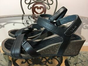 🔥TEVA Women's Black Cabrillo Crossover Wedge Sandal 8.5 US/ 39  #S🔥