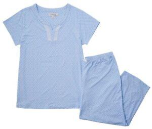 NWT ELLEN TRACY BLUE FLORAL GEOMETRIC 2 PIECE PAJAMAS CAPRI PANTS SET 3X 3XL $60